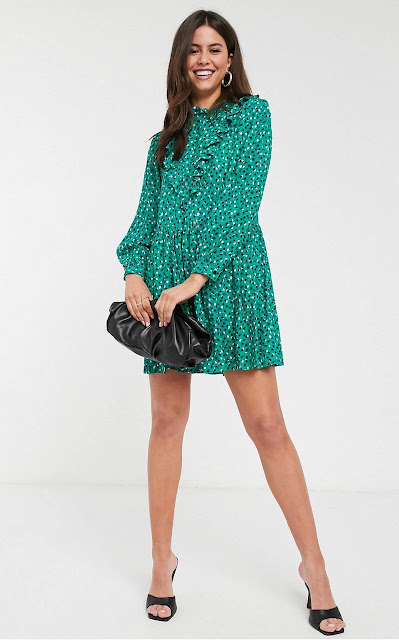 maryland influencer fashionafter40 asos prarie dot and cross smock dress in green