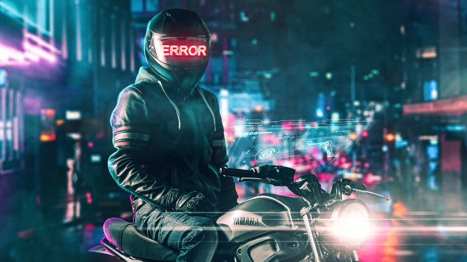 Helmet, Error, Motorcyle, Digital Art, 4K, #4.3067