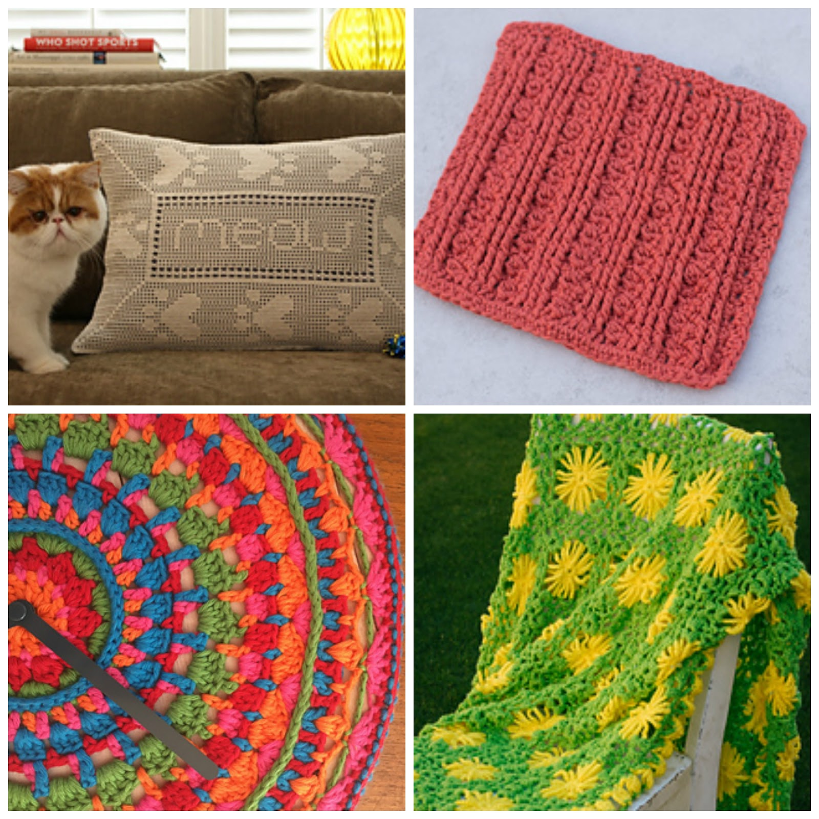 Eyeloveknots chicken coasters happily hooked magazine issue 36 red heart pattern roundup a few of my favorites include the paw print pillow top left which includes meow and woof the cottonwood dishcloth top bankloansurffo Choice Image