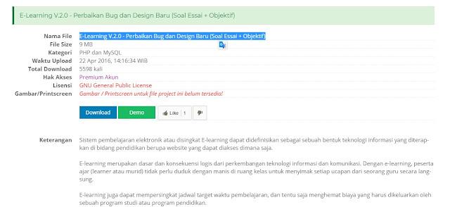 Download Gratis E-Learning V.2.0 - Perbaikan Bug dan Design Baru (Soal Essai + Objektif)