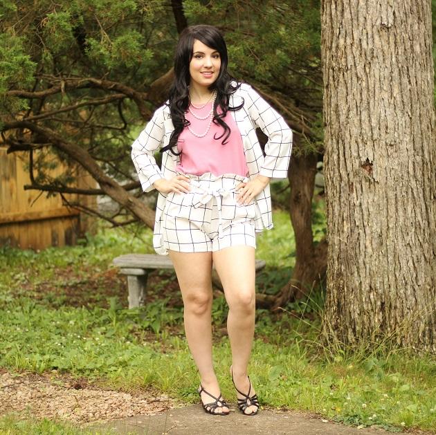 Shein Plaid Blazer With Self Tie Waist Shorts