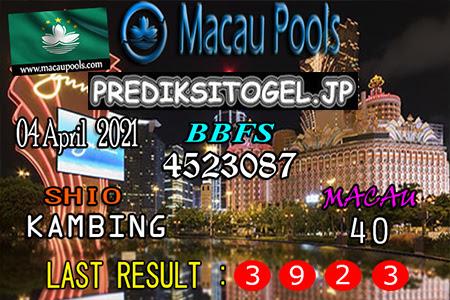 Prediksi Wangsit Togel Macau Minggu 04 April 2021
