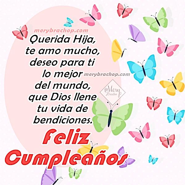 tarjeta linda con mariposas de cumpleaños para hija con mensaje cristiano