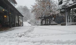 Χιονίζει από το πρωί στα ορεινά της Λάρισας (Εικόνες)