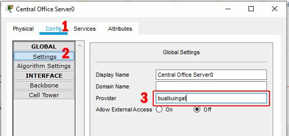 setting nama provider