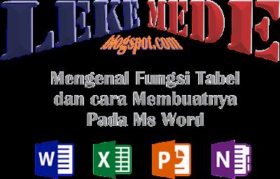 fungsi dan cara membuat tabel pada ms word