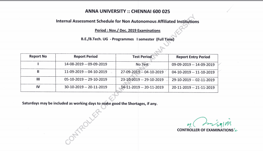 Academic and Assessment Schedule - Nov./Dec. 2019 - First Semester (UG-Full Time)