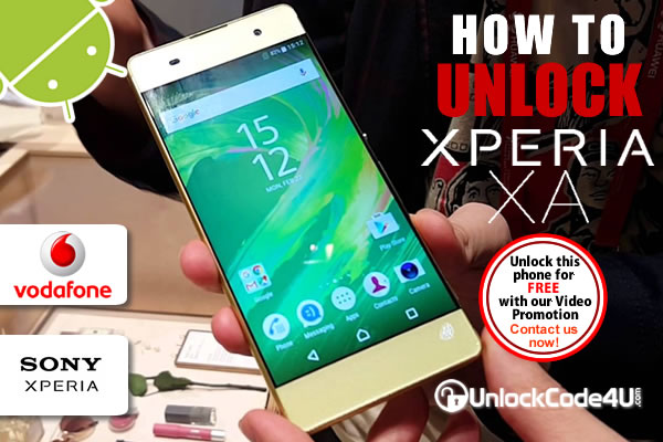 Factory Unlock Code Sony Xperia XA from Vodafone