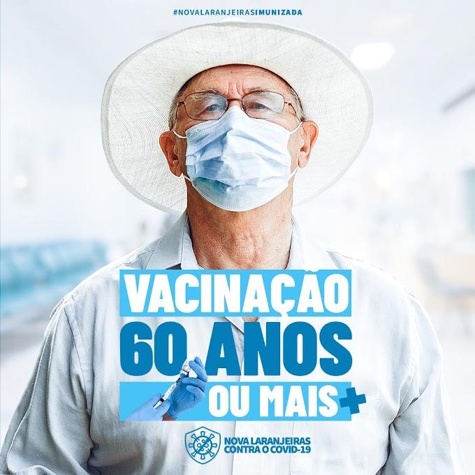 Covid-19: Nova Laranjeiras já está vacinando pessoas com 60 anos ou mais