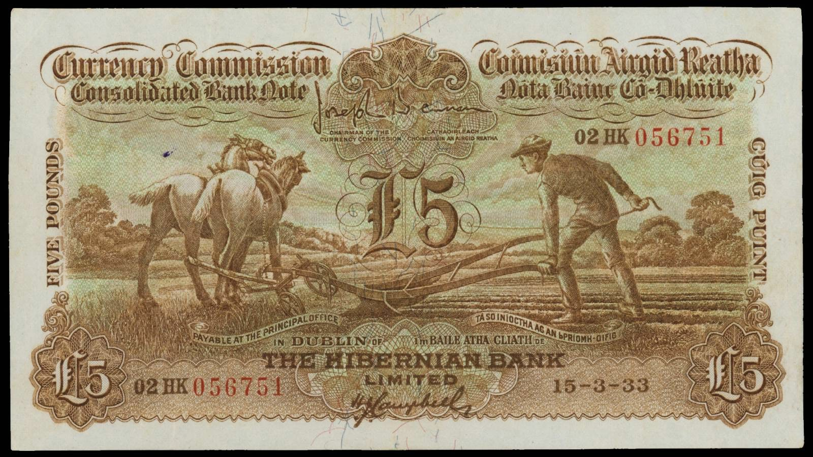 Ireland Currency Consolidated banknotes 5 Pounds Ploughman Note