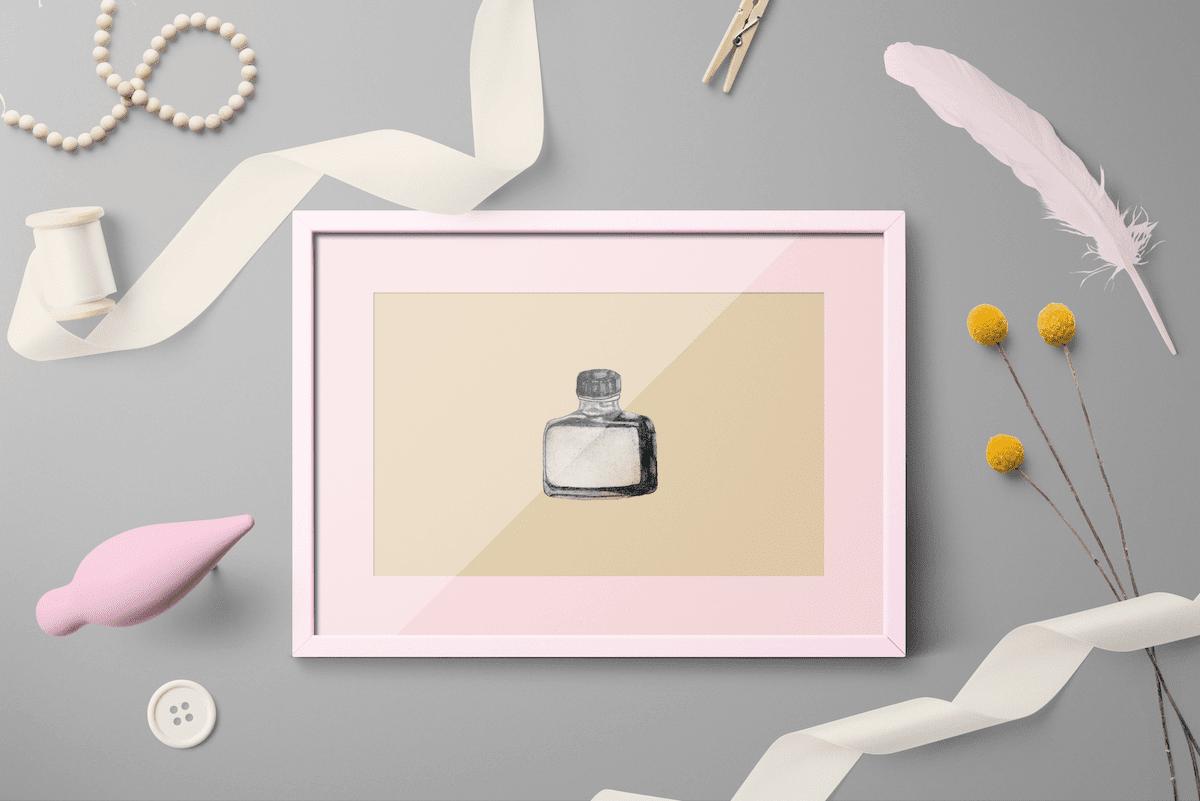 a vintage ink bottle framed art