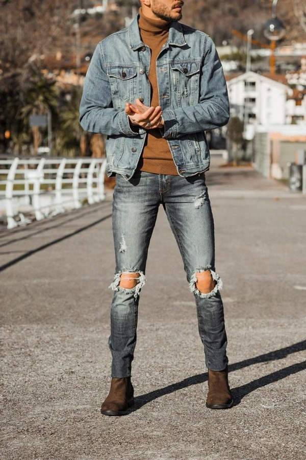 Turtle neck with deanim jacket and jeans