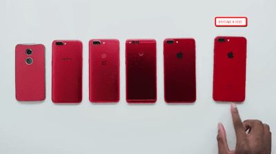 iPhone 8 Red compare to other red phones