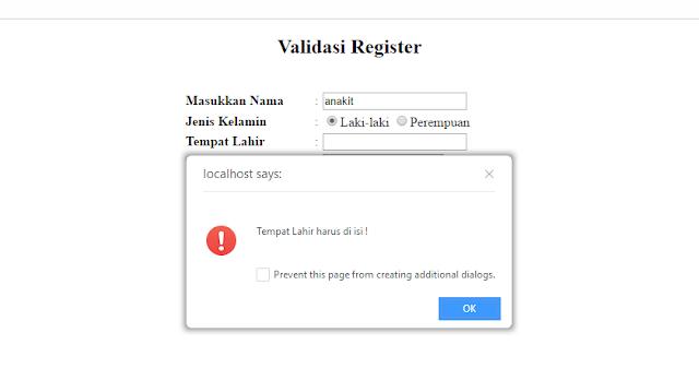 membuat pesan ketika form masih kosong dengan menggunakan javascript yang akan memberikan pesan alert apabila form masih kosong