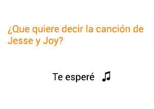 Significado de la canción Te Esperé Jesse y Joy.