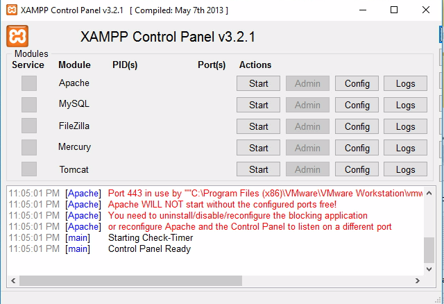 Easy way to Resolve the Xampp and VMware Port 443 error