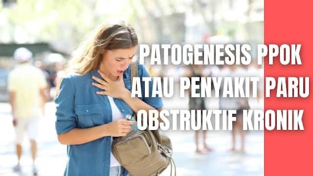 """Patogenesis PPOK atau Penyakit Paru Obstruktif Kronik Pada Manusia Inflamasi yang terjadi pada saluran napas pasien PPOK sebagai respons peradangan terhadap iritan kronis, seperti asap rokok. Inflamasi paru tetap bertahan setelah berhenti merokok.  Mekanisme patogenesis meliputi (GOLD, 2017):  Oxidative stress Ketidakseimbangan Protease – antiprotease Inflammatory cells: di beberapa pasien terdapat peningkatan eosinophil, Th2 atau ILC2, terutama jika terjadi bersamaan dengan asma. Mediator inflamasi Fibrosis peribronkial dan interstisial Perbedaan inflamasi antara PPOK dan asma    Nah itu dia bahasan dari Patogenesis PPOK atau Penyakit Paru Obstruktif Kronik pada manusia, melalui bahasan di atas bisa diketahui mengenai Patogenesis PPOK pada manusia. Mungkin hanya itu yang bisa disampaikan di dalam artikel ini, mohon maaf bila terjadi kesalahan di dalam penulisan, dan terimakasih telah membaca artikel ini.""""God Bless and Protect Us"""""""