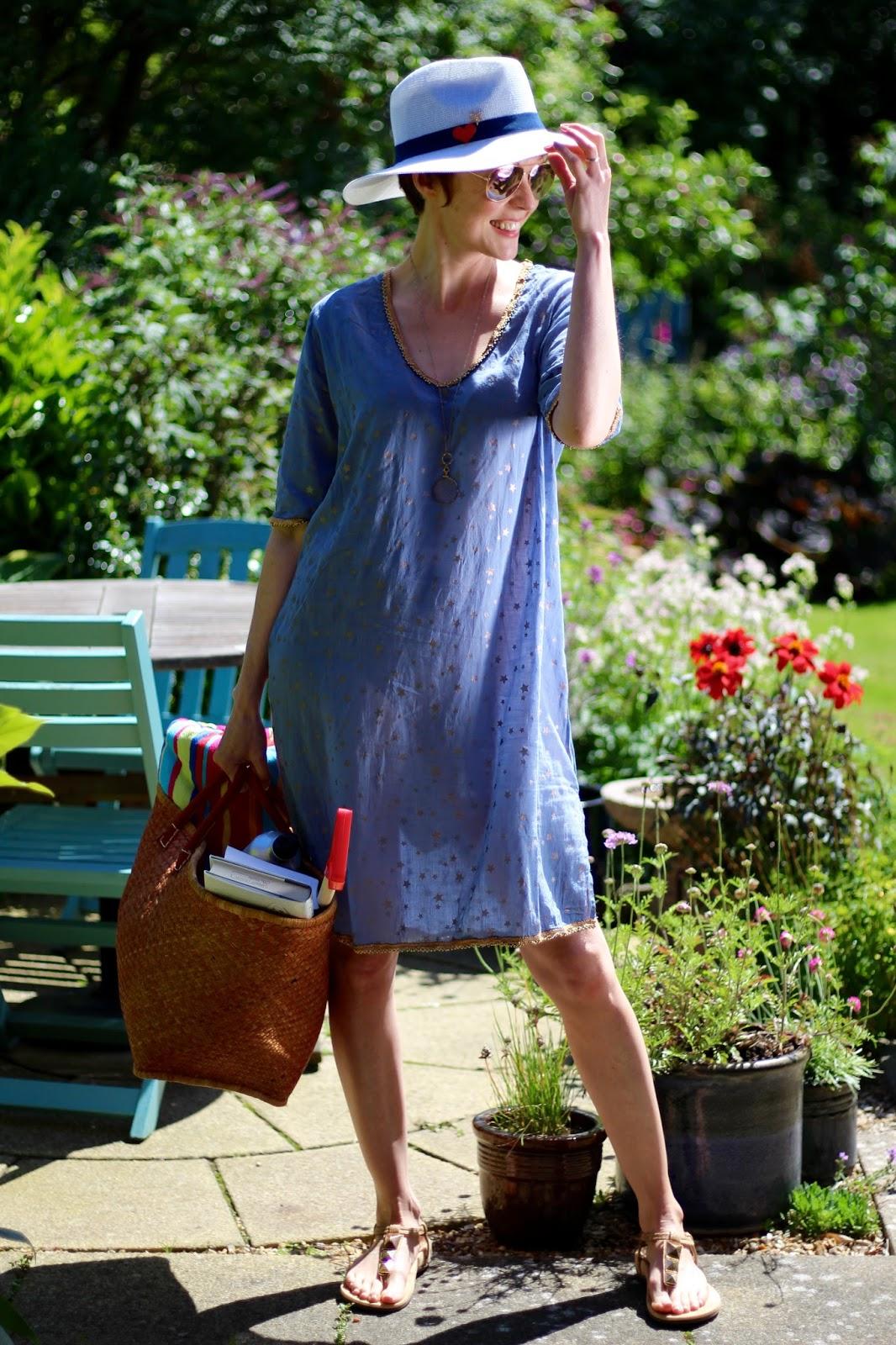 Somerville scarves blue kaftan & white panama hat | Fake Fabulous