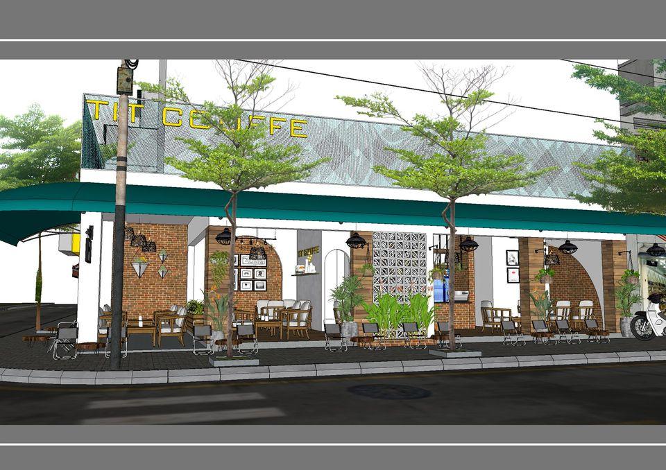 Phối cảnh quán cà phê vỉa hè phong cách Sài Gòn