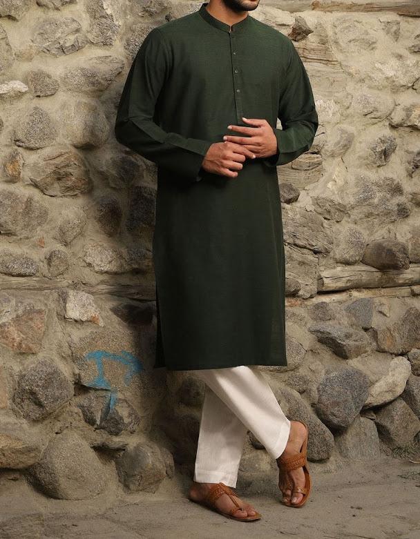 J. Junaid Jamshed Winter Green color kurta collection