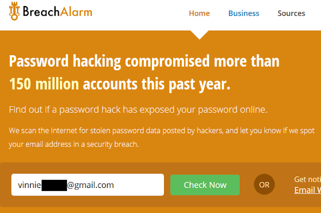 Sito web BreachAlarm