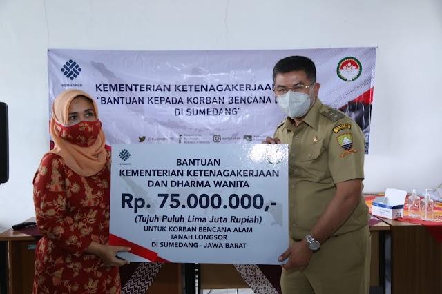 DWP Kemenaker Bantu Uang dan Pelatihan bagi Korban Longsor Sumedang