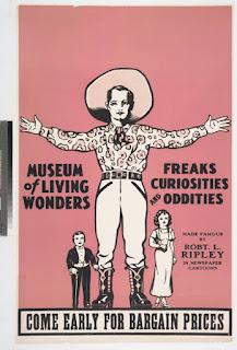 Una locandina di un Circus of oddities and curiosities