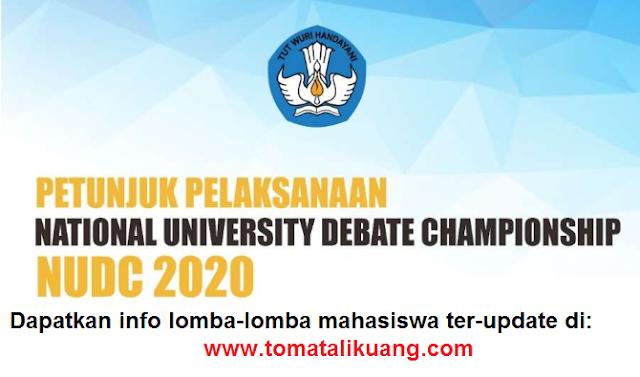 pedoman nudc tahun 2020; petunjuk pelaksanaan national university debate championship tahun 2020; tomatalikuang.com