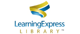 "Waving yellow and blue ribbons above the words ""LearningExpress Library"""