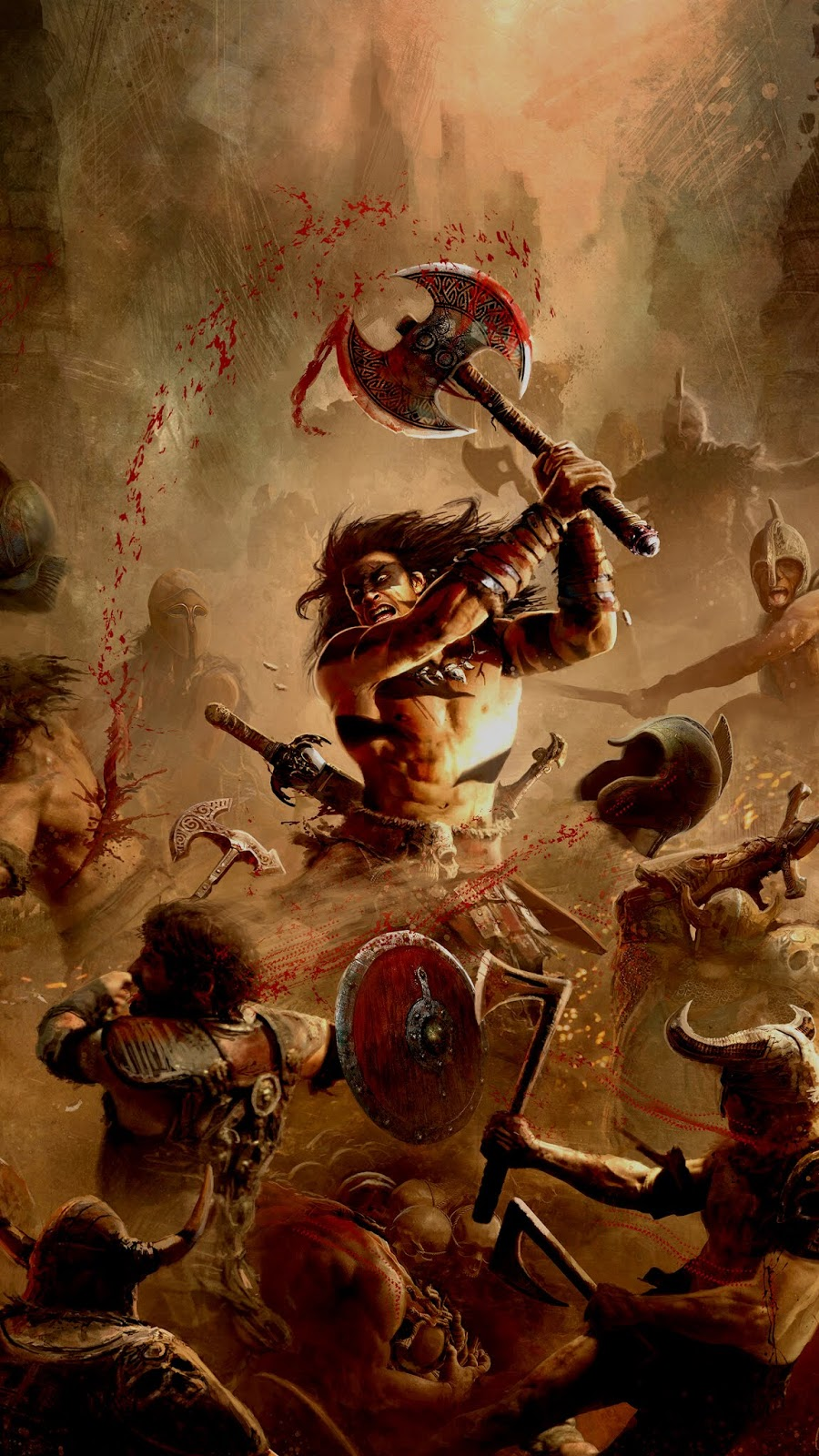 art illustration of conan fighting. Really cool to use as phone wallpaper. It is in 1080 x 1920 pixels resolution.