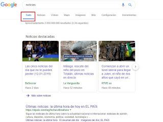Resultados de Google por defecto