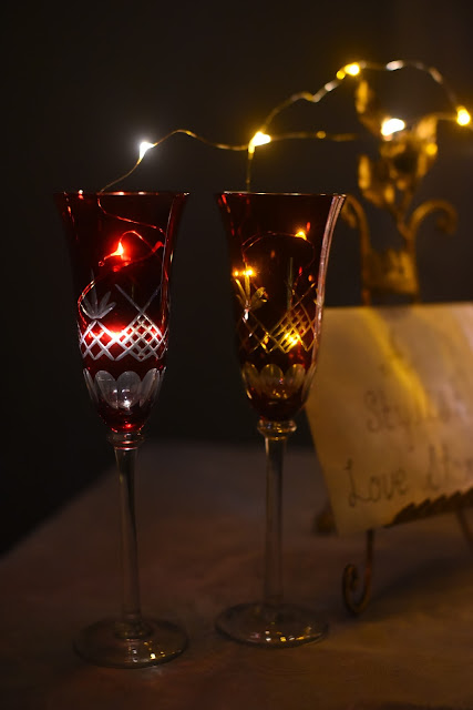 red champagne glasses with LED lights