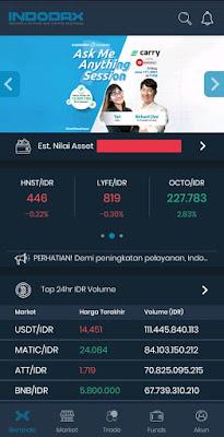 Screenshot Halaman Dashboard Aplikasi Indodax