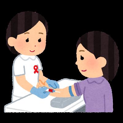 HIV検査のイラスト(女性・胸リボン)