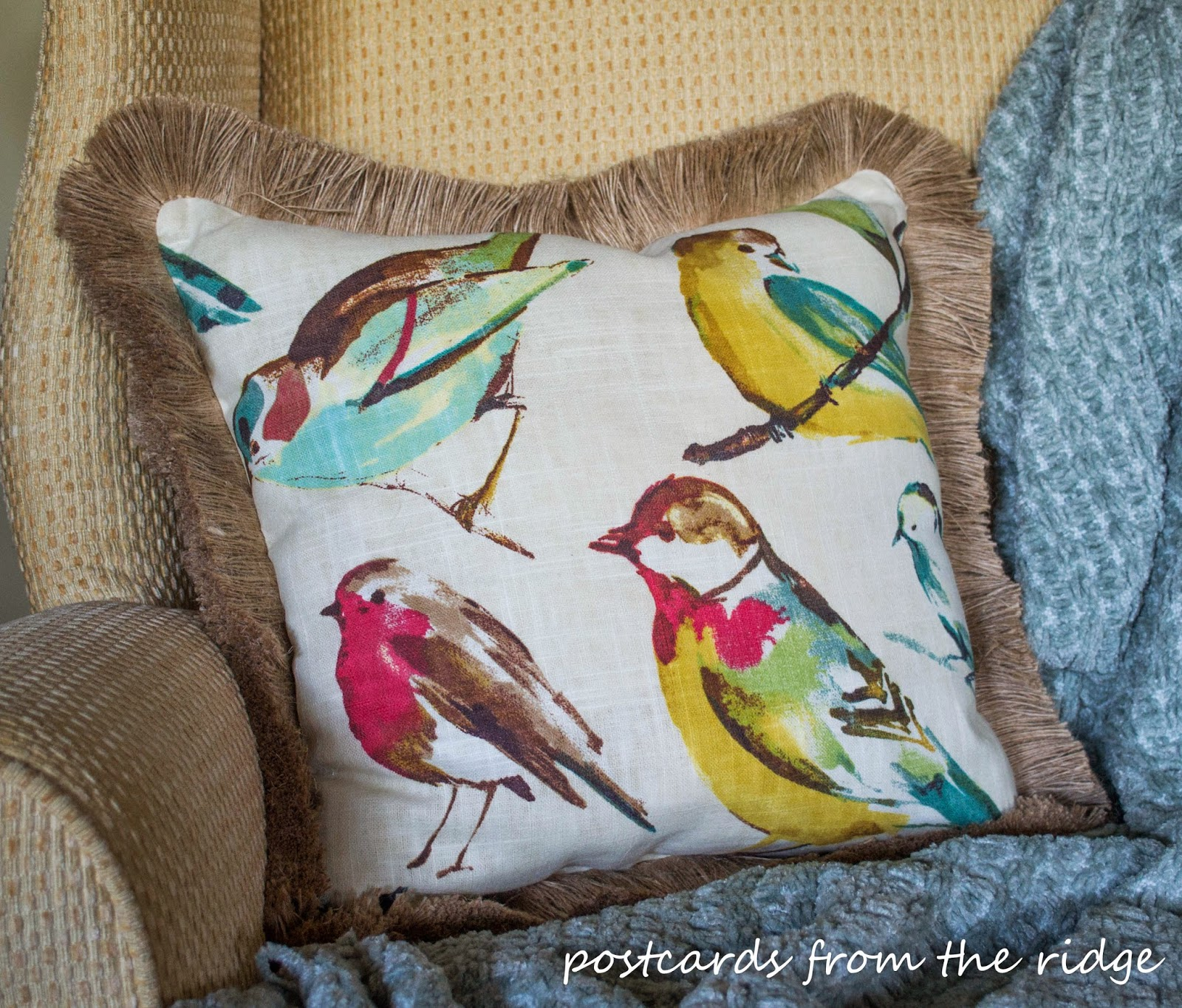 DIY pillow with trim by postcards from the ridge