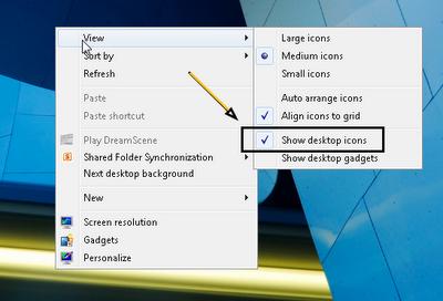 Menyembunyikan dan Menampilkan Icon di Desktop win7