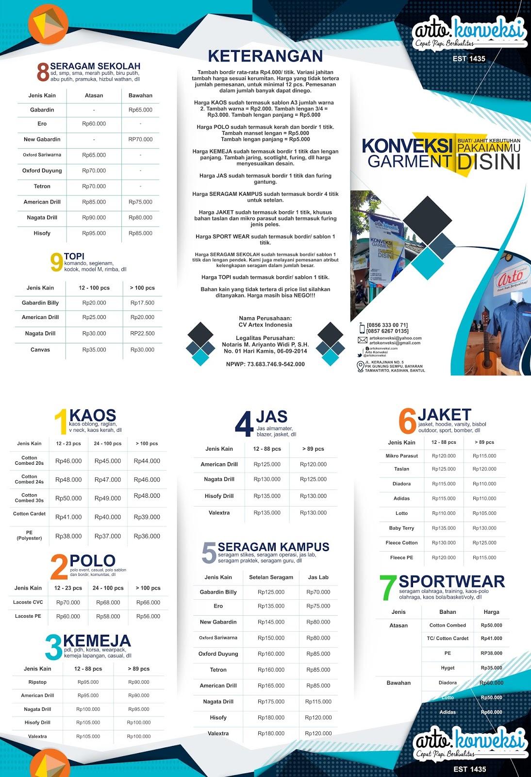 Pricelist dan Brosur Kaoskerah.com