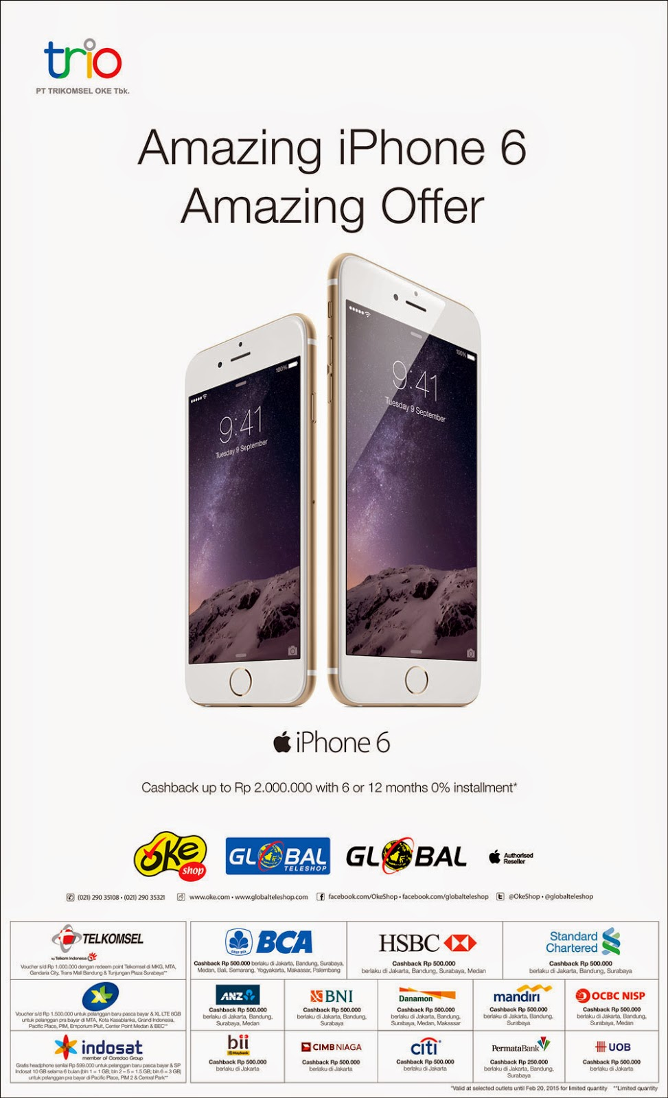 Promo iPhone 6 Cashback up to 2 Juta
