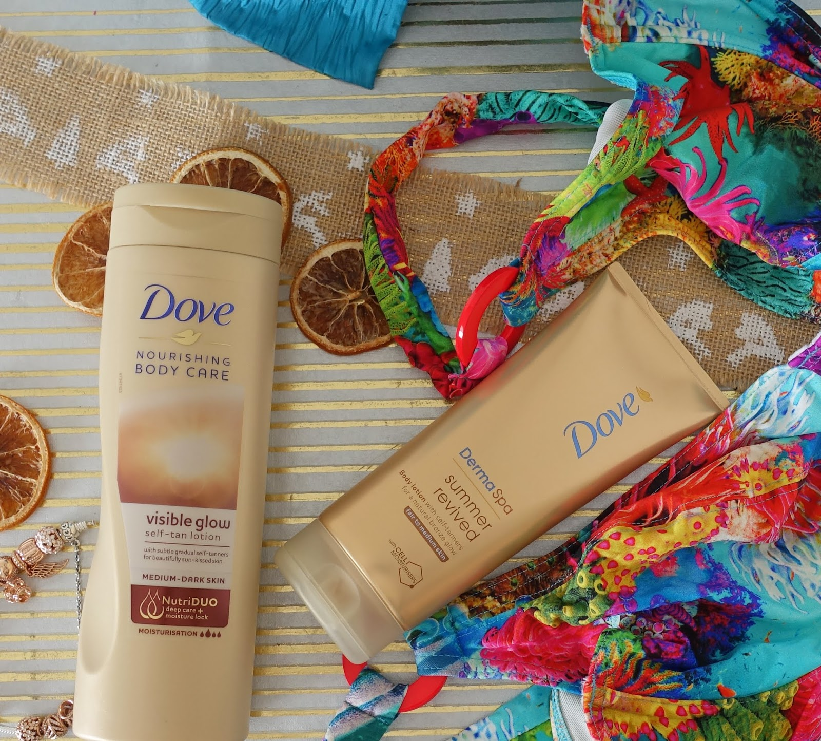 Dove Visible Glow and Summer Revived gradual tan products in a summer background  from Is This Mutton dot com