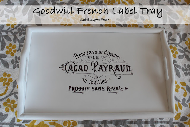 DIY Thrift Store Tray Makeover - how to give a brown wooden tray a fresh white update with paint and add a vintage French label accent with a Sharpie marker. Easy DIY home decor project and gift idea.