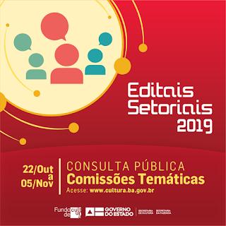Aberta consulta pública para composição das comissões temáticas dos 19 Editais Setoriais do FCBA