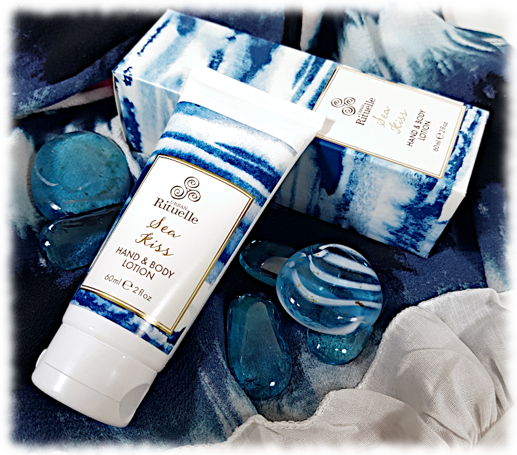 Sea Kiss Hand & Body Lotion with stripey blue glass stones