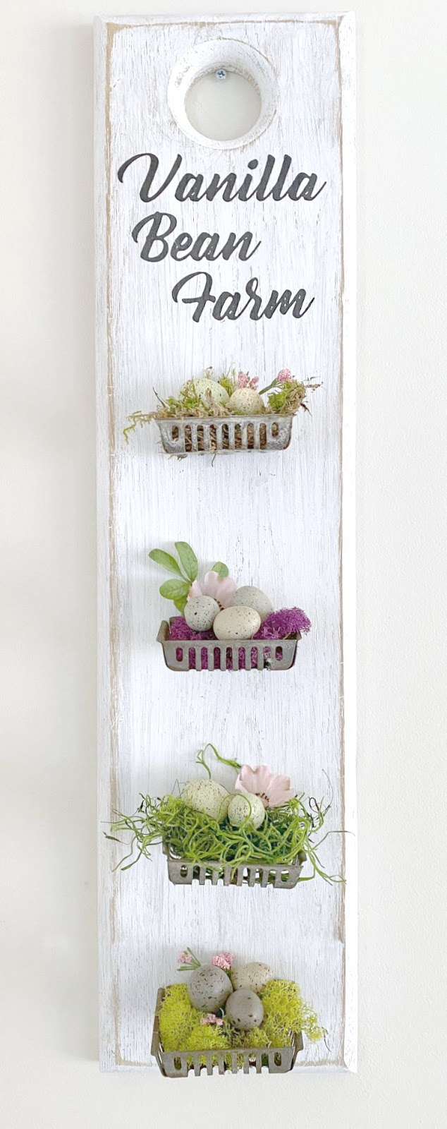 Repurposed metal soap basket nests and speckled eggs
