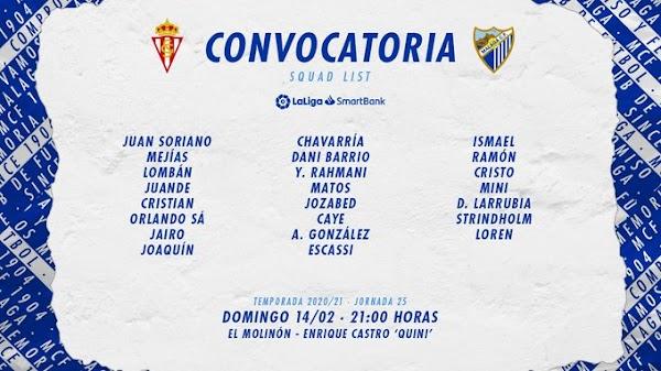 Málaga, convocatoria ante el Sporting de Gijón
