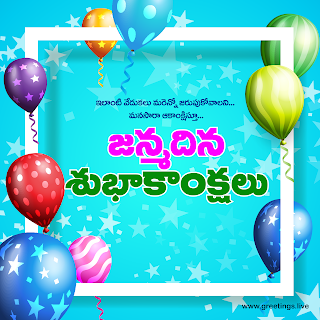 """janmadina subhakankshalu"" Telugu birthday greetings wishes image"