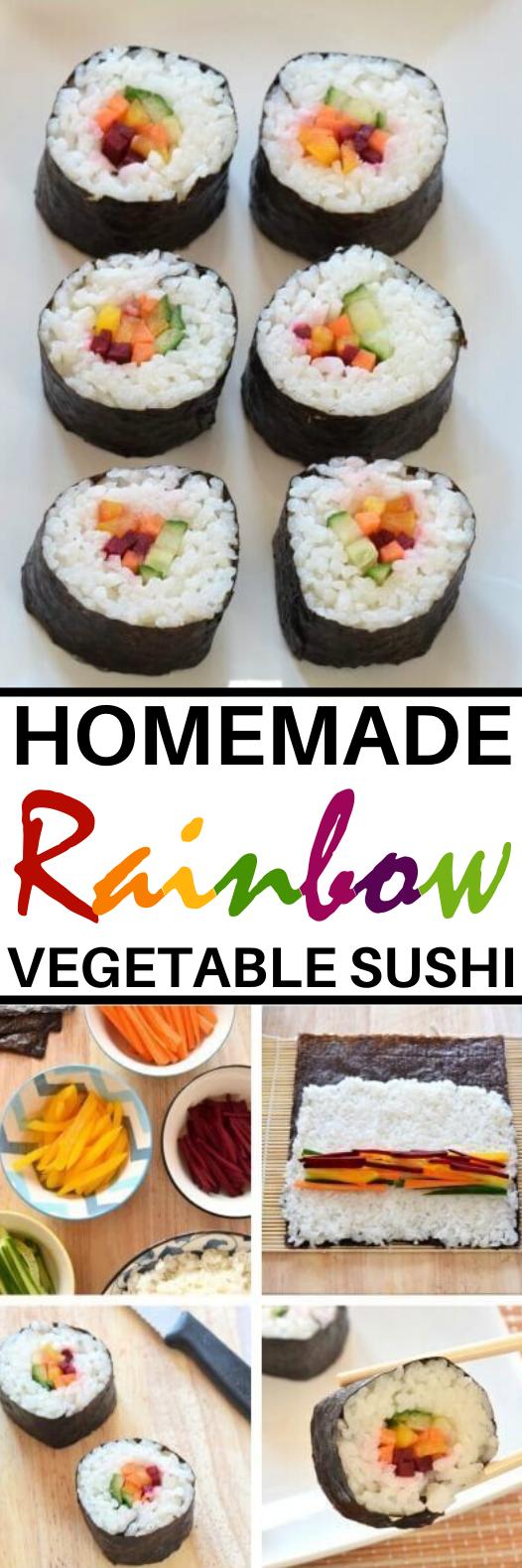 Rainbow Vegetable Sushi #vegan #recipes #dinner #easy #healthy