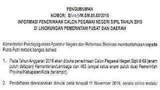 Pengumuman Resmi Lowongan CPNS Terbaru (Jadwal Pendaftaran, Syarat dan Formasi Lengkap Seluruh Indonesia)