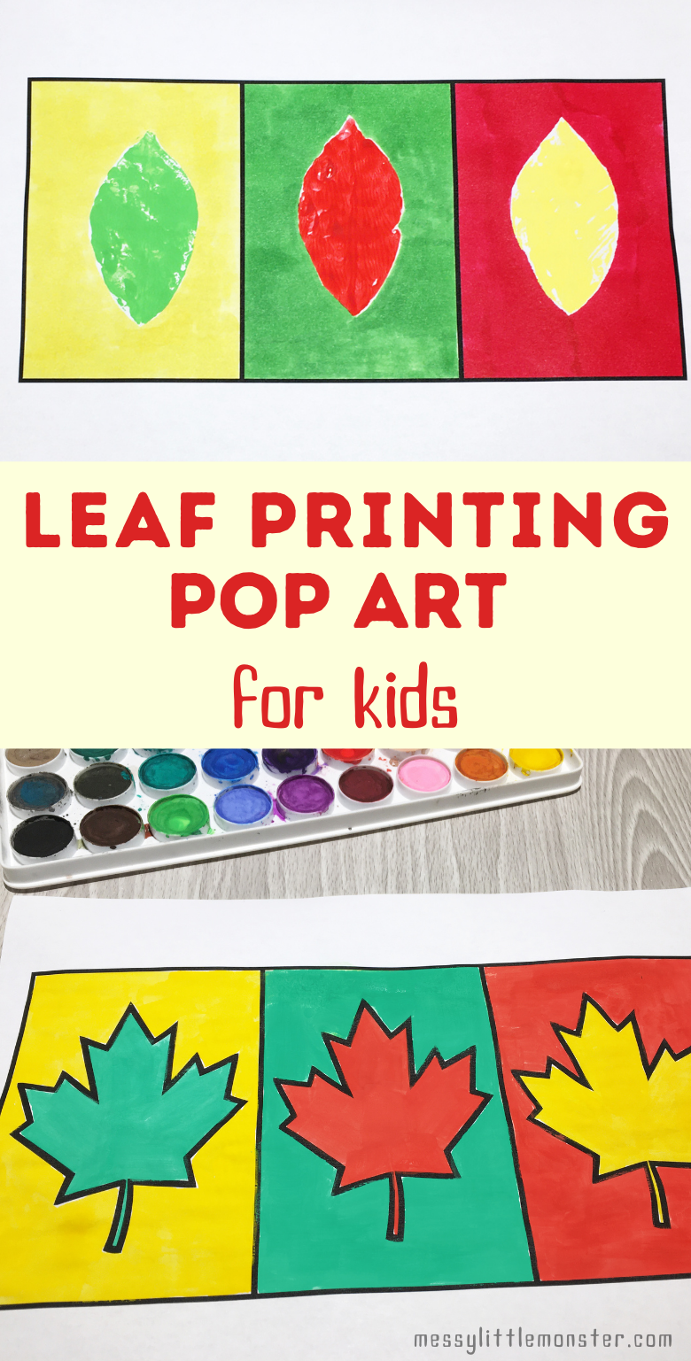 Leaf printing pop art for kids with printable leaf craft template.