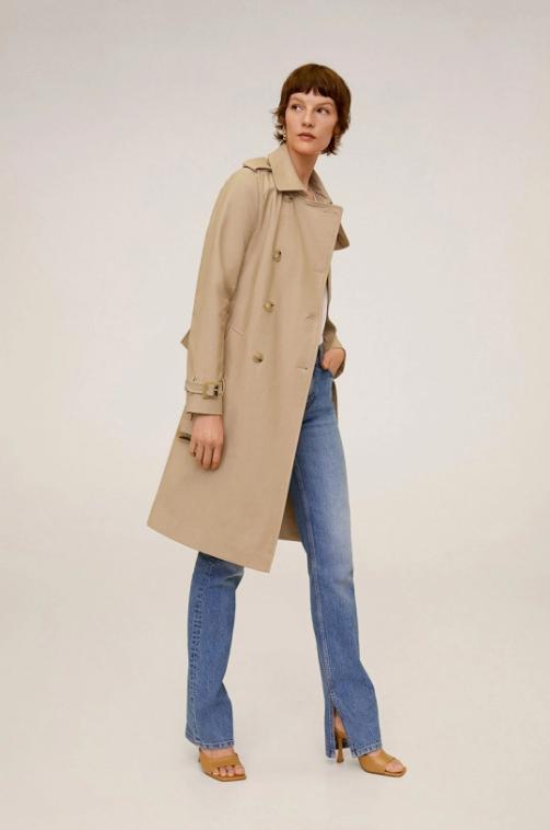 Trench dama nude lung de toamna iarna la moda Mango