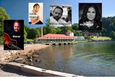 Bildkollage med vy över Gustafsberg plus artistbilder.